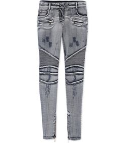 ShopBazaar Balmain Distressed Moto Jeans MAIN