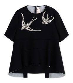 ShopBazaar Marni Black Neoprene Sequined Top MAIN
