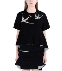 ShopBazaar Marni Black Neoprene Sequined Top FRONT