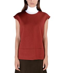 ShopBazaar Marni Red Neoprene Turtleneck Top FRONT