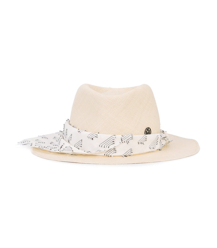 neutral fabric trim trilby hat