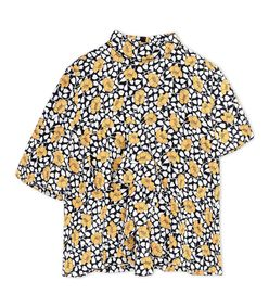ShopBazaar Marni Black Crêpe Floral-Print Top MAIN