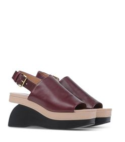 ShopBazaar Marni Leather Wedge Sandal FRONT