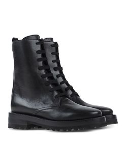 ShopBazaar Marni Black Leather Combat Boot FRONT