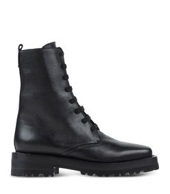 ShopBazaar Marni Black Leather Combat Boot MAIN