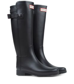 ShopBazaar Hunter Black Back Strap Rain Boot FRONT