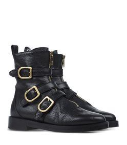 ShopBazaar Sonia Rykiel Black Leather Buckle Boot FRONT