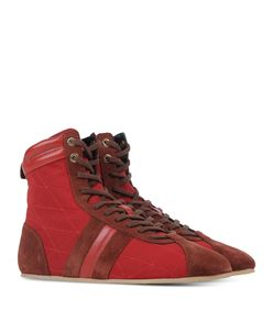 ShopBazaar Sonia Rykiel Suede Red High-Top Sneaker FRONT