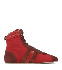ShopBazaar Sonia Rykiel Suede Red High-Top Sneaker MAIN