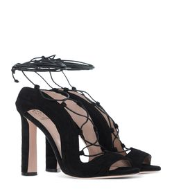 ShopBazaar Paula Cademartori Black Suede Lace-up Sandal FRONT