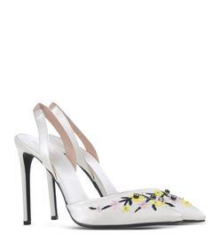ShopBazaar Giambattista Valli Satin Ivory Sling Back Heel  FRONT