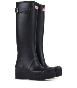 ShopBazaar Hunter Black Low Wedge Rain Boot FRONT