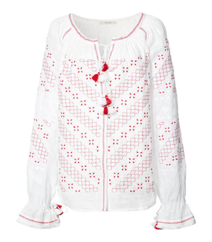 red & white 'bratislava' blouse