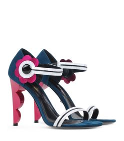 ShopBazaar Nicholas Kirkwood Suede Flower Sandal  FRONT