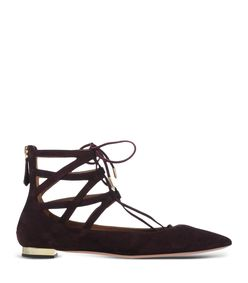 ShopBazaar Aquazzura Belgravia Suede Lace-Up Flat MAIN