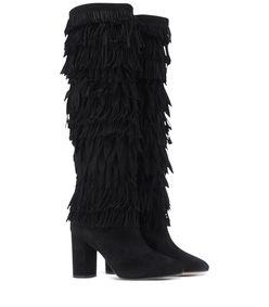 ShopBazaar Aquazzura Black Fringe Tall Boot FRONT