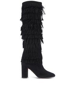 ShopBazaar Aquazzura Black Fringe Tall Boot MAIN