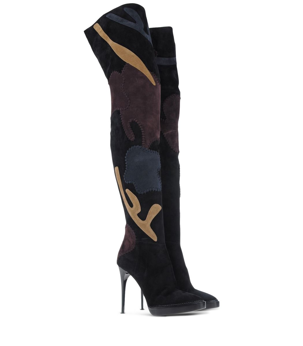 ShopBazaar Burberry Prorsum Patchwork Over-The-Knee Boot FRONT