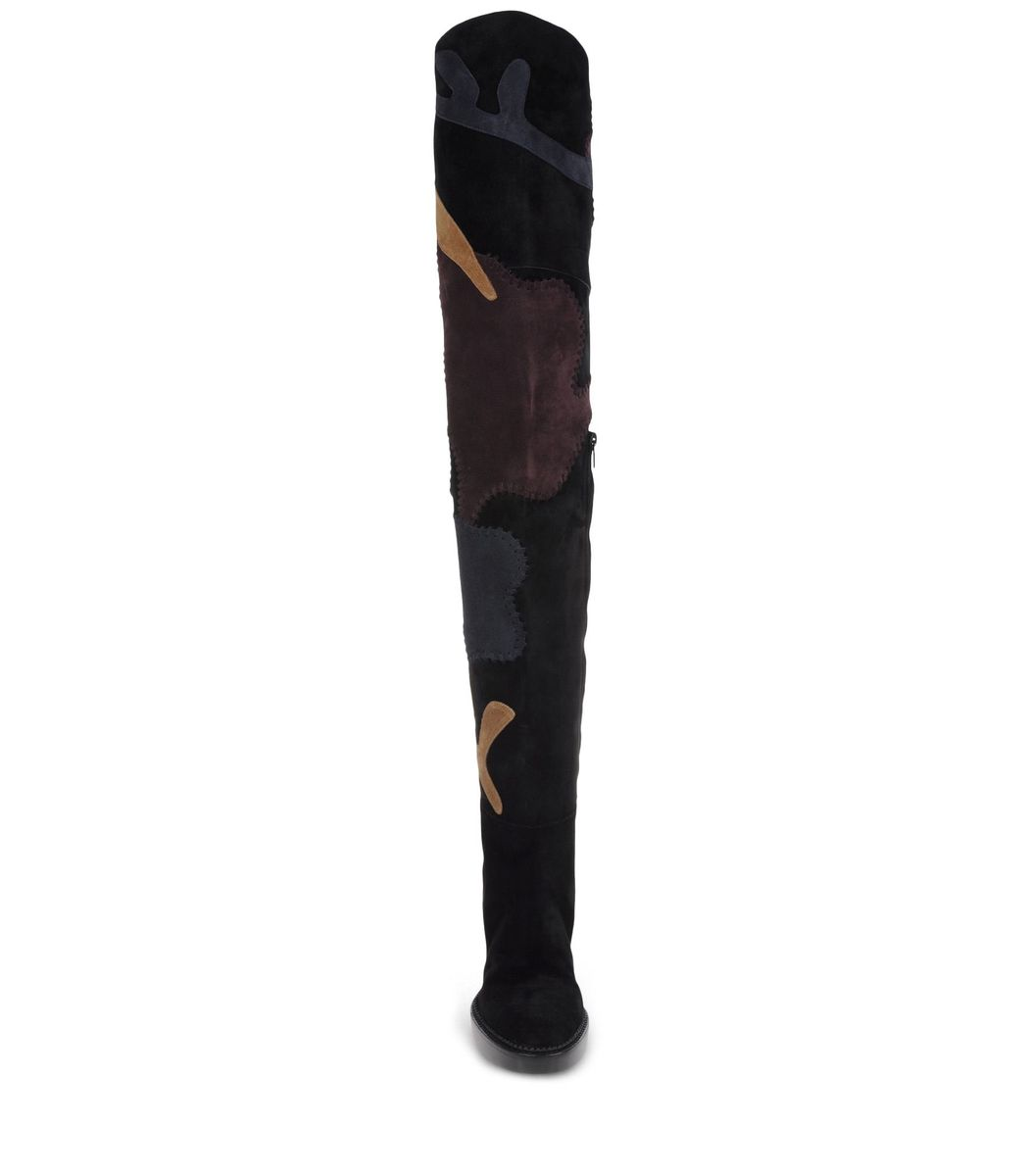 ShopBazaar Burberry Prorsum Patchwork Over-The-Knee Boot DETAIL