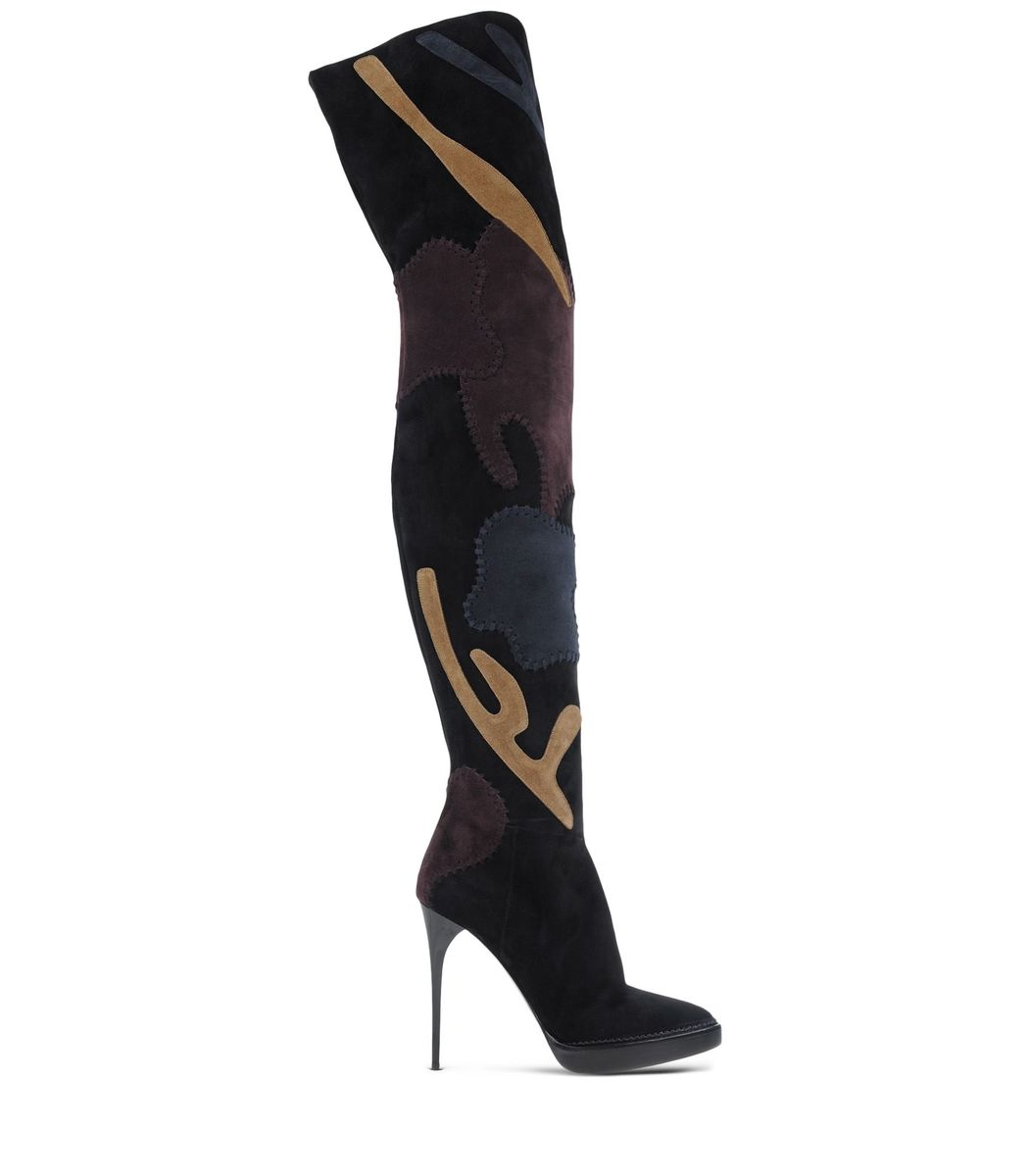 ShopBazaar Burberry Prorsum Patchwork Over-The-Knee Boot MAIN