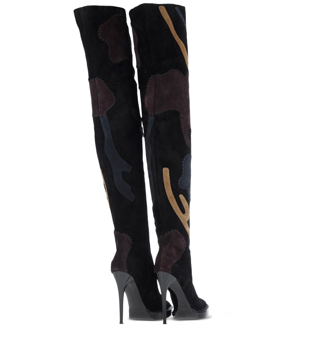 ShopBazaar Burberry Prorsum Patchwork Over-The-Knee Boot ANGLED