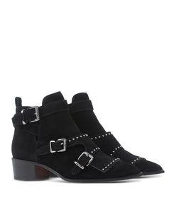 ShopBazaar Barbara Bui Black Suede Buckle Bootie FRONT