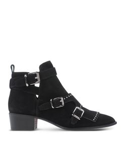 ShopBazaar Barbara Bui Black Suede Buckle Bootie MAIN