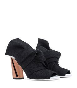 ShopBazaar Proenza Schouler Grey Leather & Felt Bootie FRONT