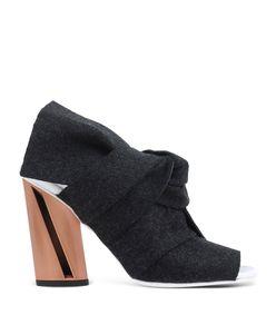 ShopBazaar Proenza Schouler Grey Leather & Felt Bootie MAIN