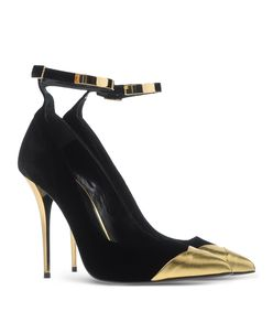 ShopBazaar Balmain Black & Gold Pump FRONT