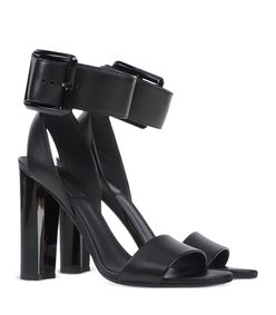 ShopBazaar Calvin Klein Collection Black Thick Buckle Sandal FRONT