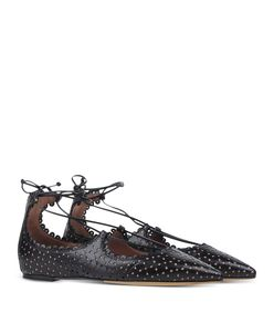 ShopBazaar Tabitha Simmons Black Perforated Ballet Flat FRONT