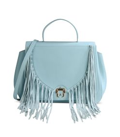 ShopBazaar Paula Cademartori Sky Blue Fringe Bag MAIN