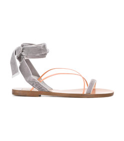 grey velvet lace-up sandal