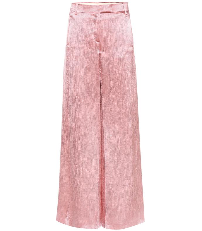 pink silk-blend trouser