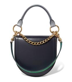 navy blue horseshoe leather shoulder bag