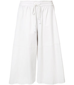 white leather culottes