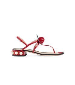 red leather thong sandal