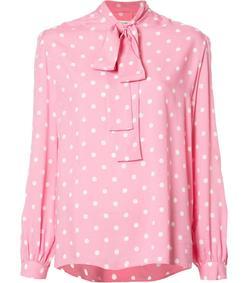 pink polka-dot silk shirt