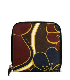 ShopBazaar Marni Maroon Leather Printed Wallet MAIN