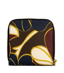 ShopBazaar Marni Maroon Leather Printed Wallet FRONT