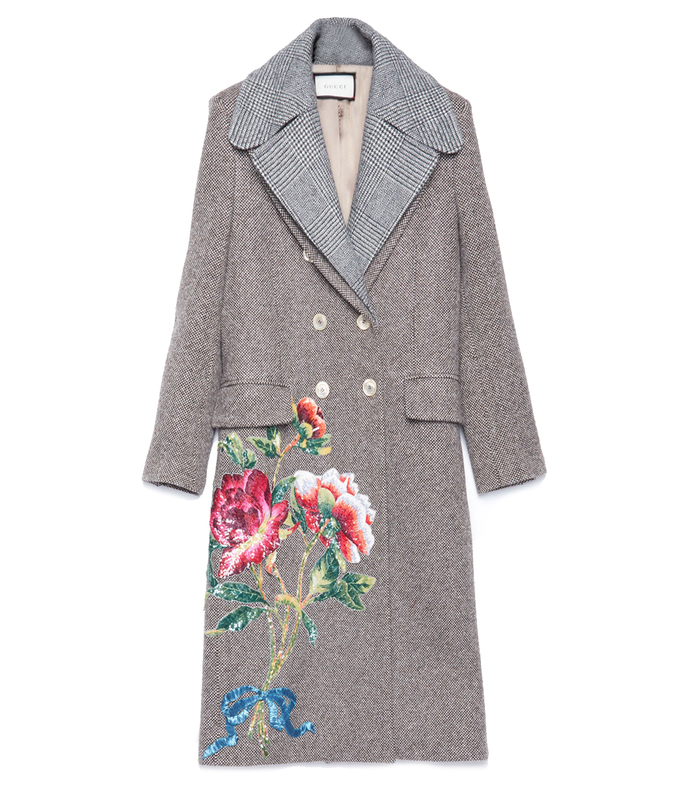 grey vintage embroidered coat