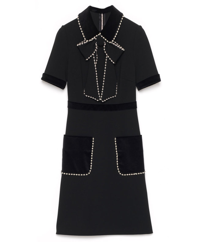 black velvet embroidered dress