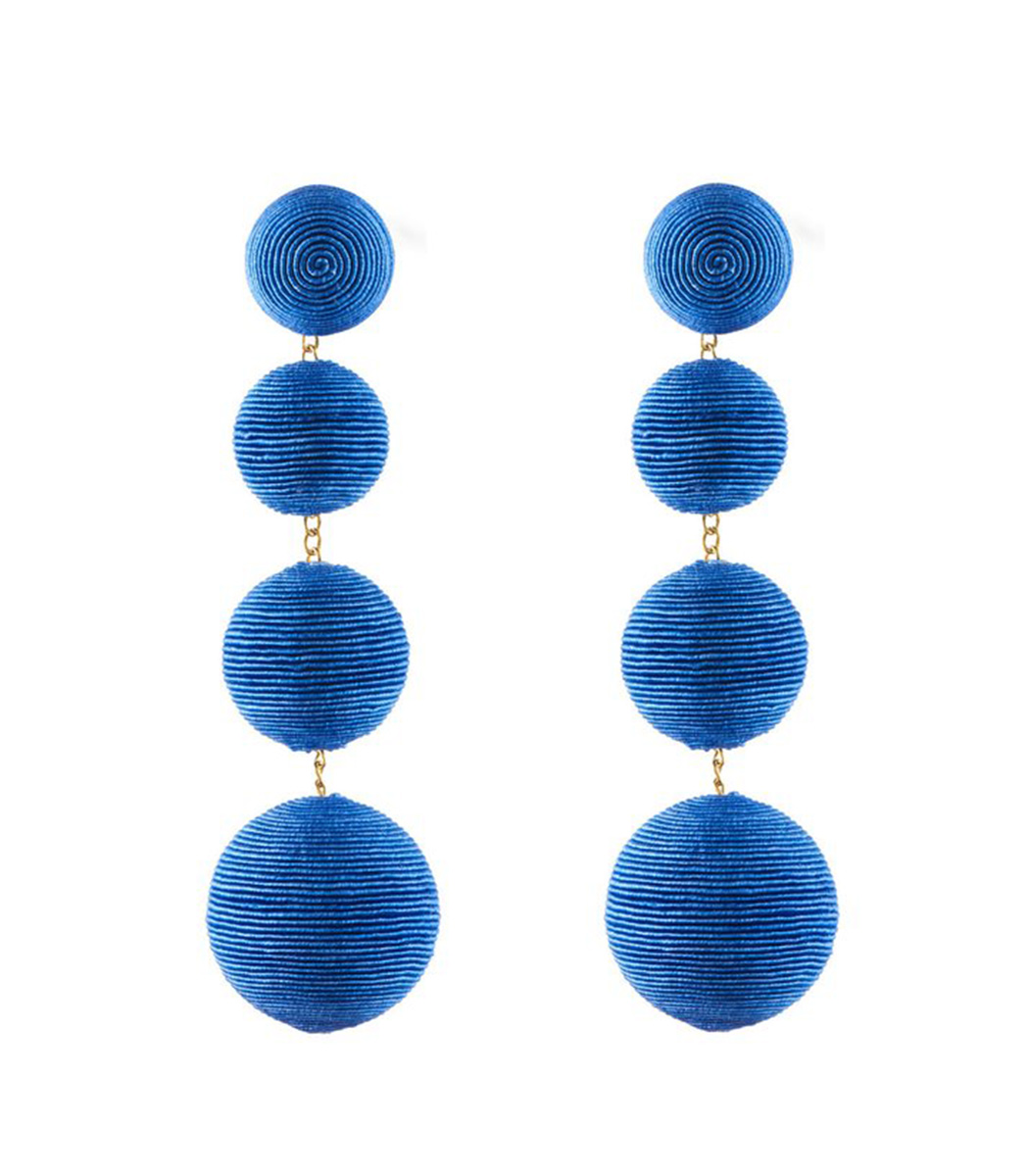 royal blue electric 4 drop earrings