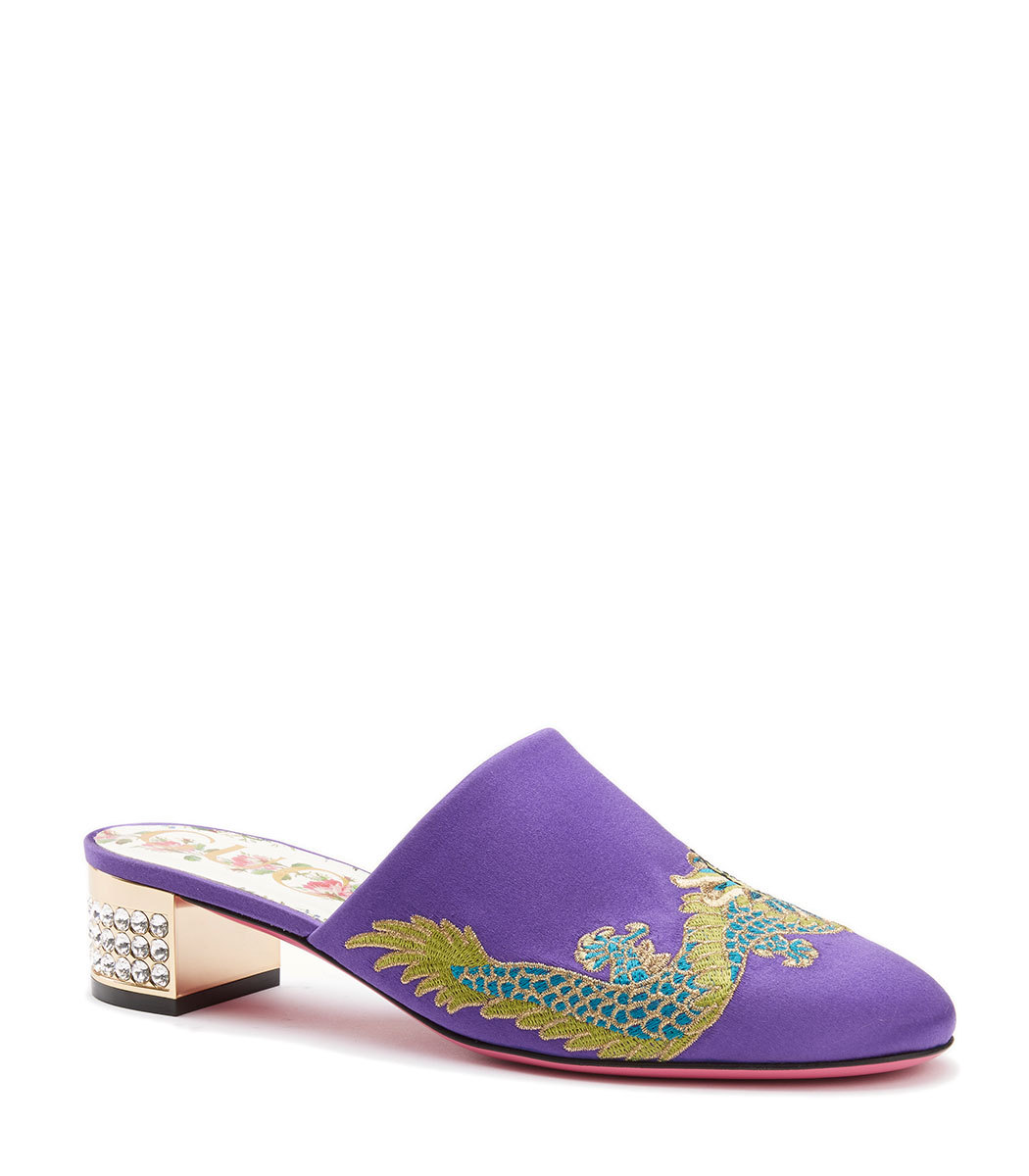 35MM EMBROIDERED DRAGON SATIN MULES