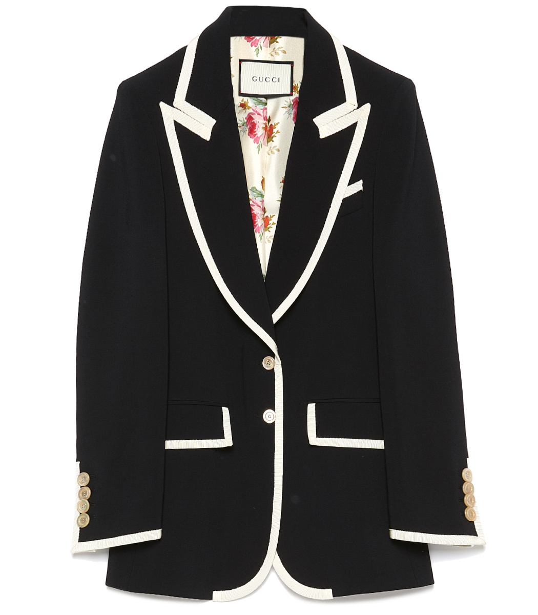 Contrast-Trim Single Breasted Jacket, Black/Ivory