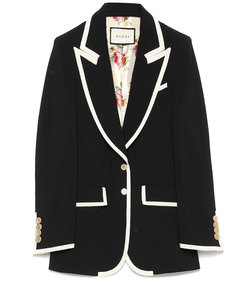black & ivory peak lapel jacket