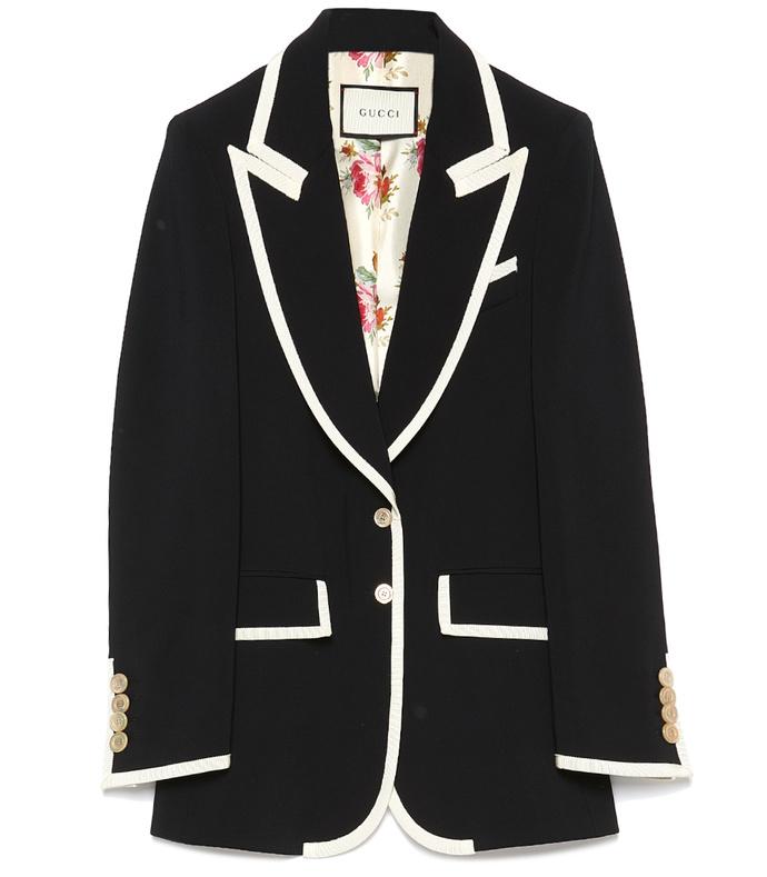 black & ivory peak lapel jacket