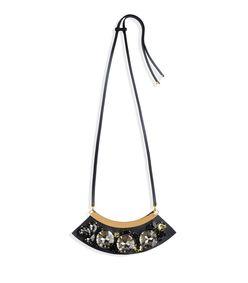 ShopBazaar Marni Black Leather Rhinestone-Embellished Necklace MAIN