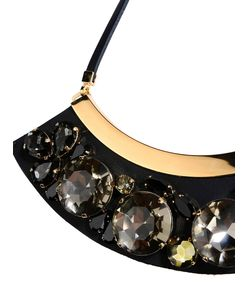 ShopBazaar Marni Black Leather Rhinestone-Embellished Necklace FRONT